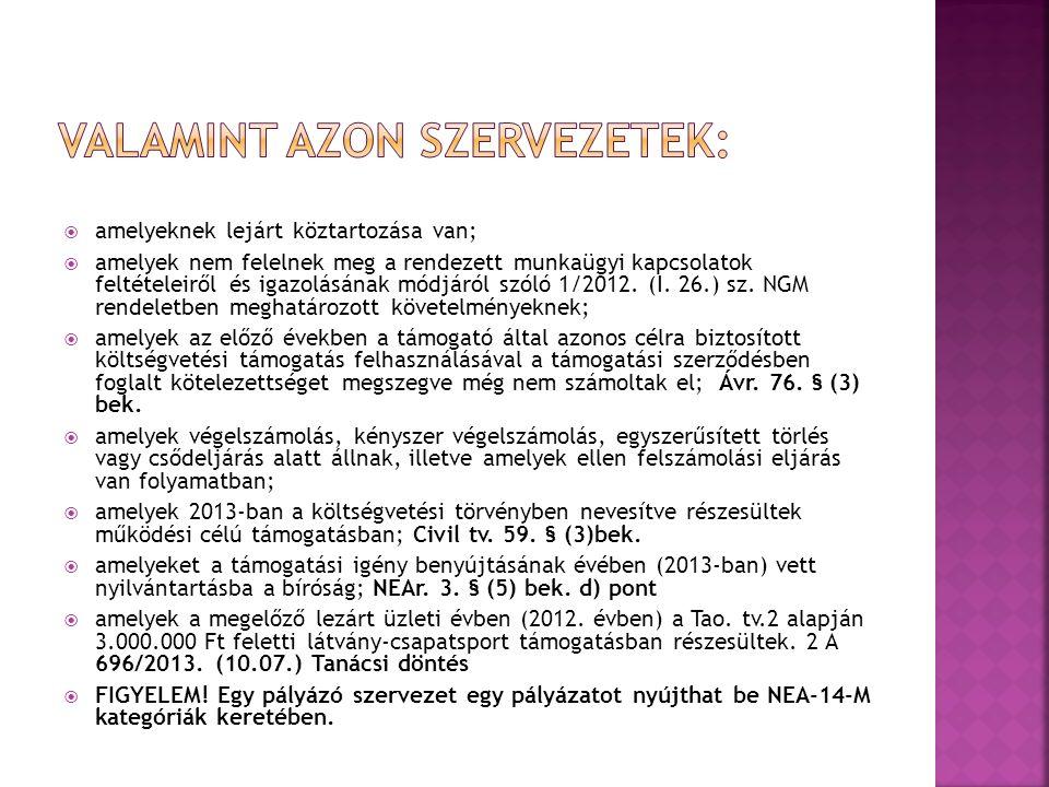  amelyeknek lejárt köztartozása van;  amelyek nem felelnek meg a rendezett munkaügyi kapcsolatok feltételeiről és igazolásának módjáról szóló 1/2012.