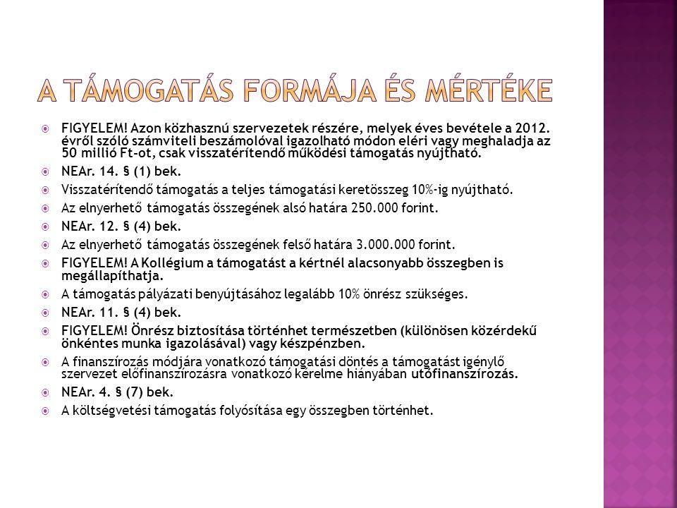  FIGYELEM. Azon közhasznú szervezetek részére, melyek éves bevétele a 2012.