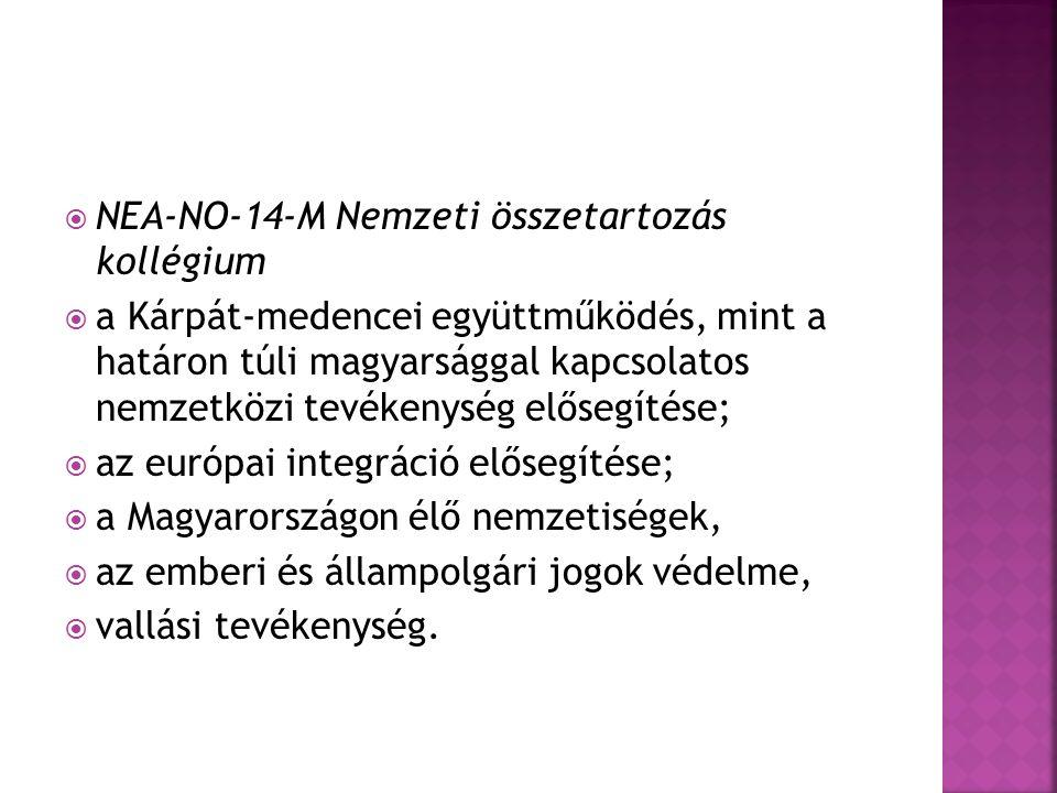  NEA-NO-14-M Nemzeti összetartozás kollégium  a Kárpát-medencei együttműködés, mint a határon túli magyarsággal kapcsolatos nemzetközi tevékenység elősegítése;  az európai integráció elősegítése;  a Magyarországon élő nemzetiségek,  az emberi és állampolgári jogok védelme,  vallási tevékenység.