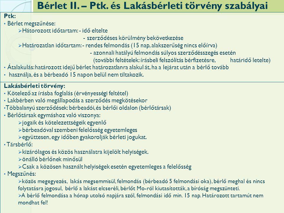 Bérlet II. – Ptk.