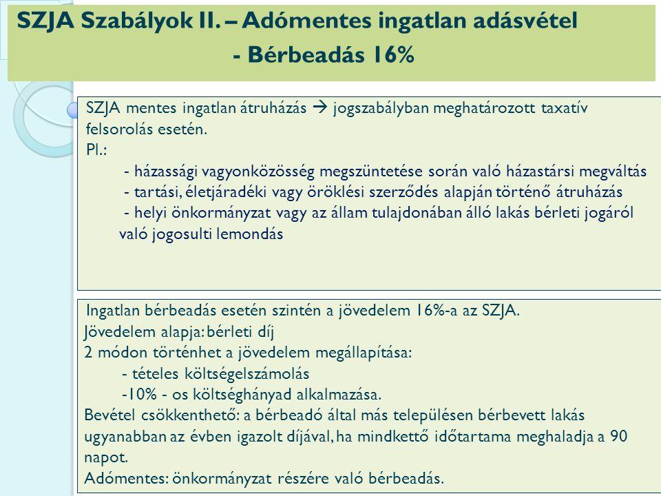 SZJA Szabályok II.