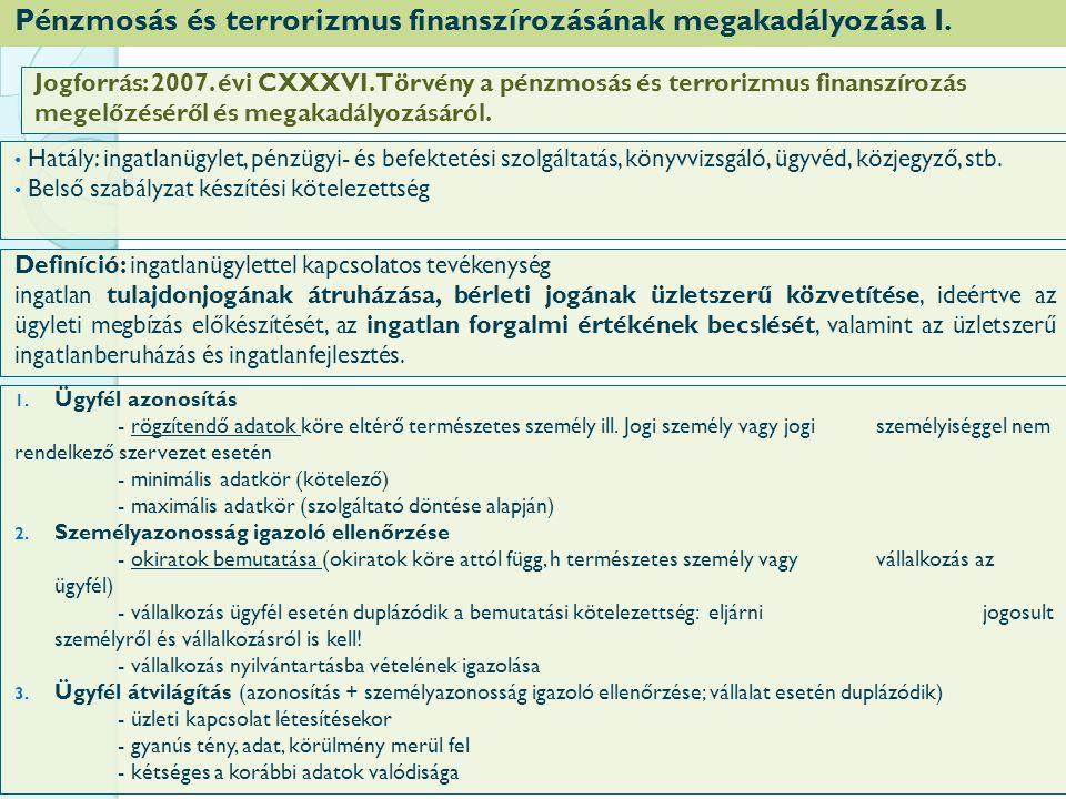 Pénzmosás és terrorizmus finanszírozásának megakadályozása I.