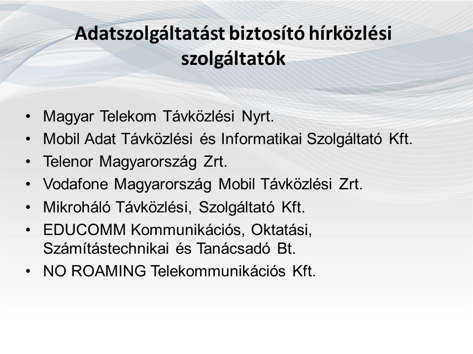 Adatszolgáltatást biztosító hírközlési szolgáltatók Magyar Telekom Távközlési Nyrt. Mobil Adat Távközlési és Informatikai Szolgáltató Kft. Telenor Mag