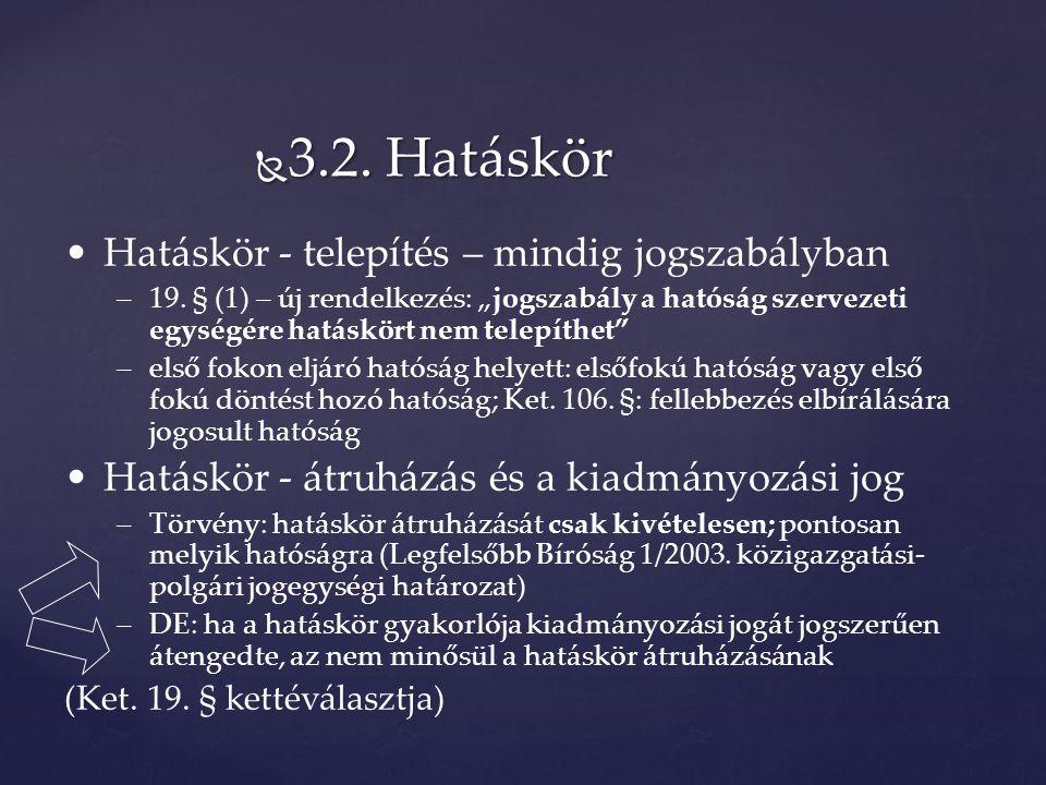  3.2. Hatáskör Hatáskör - telepítés – mindig jogszabályban –19.