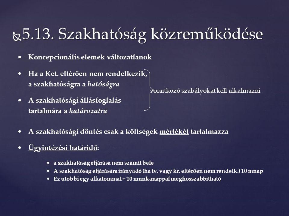  5.13. Szakhatóság közreműködése Koncepcionális elemek változatlanok Ha a Ket.