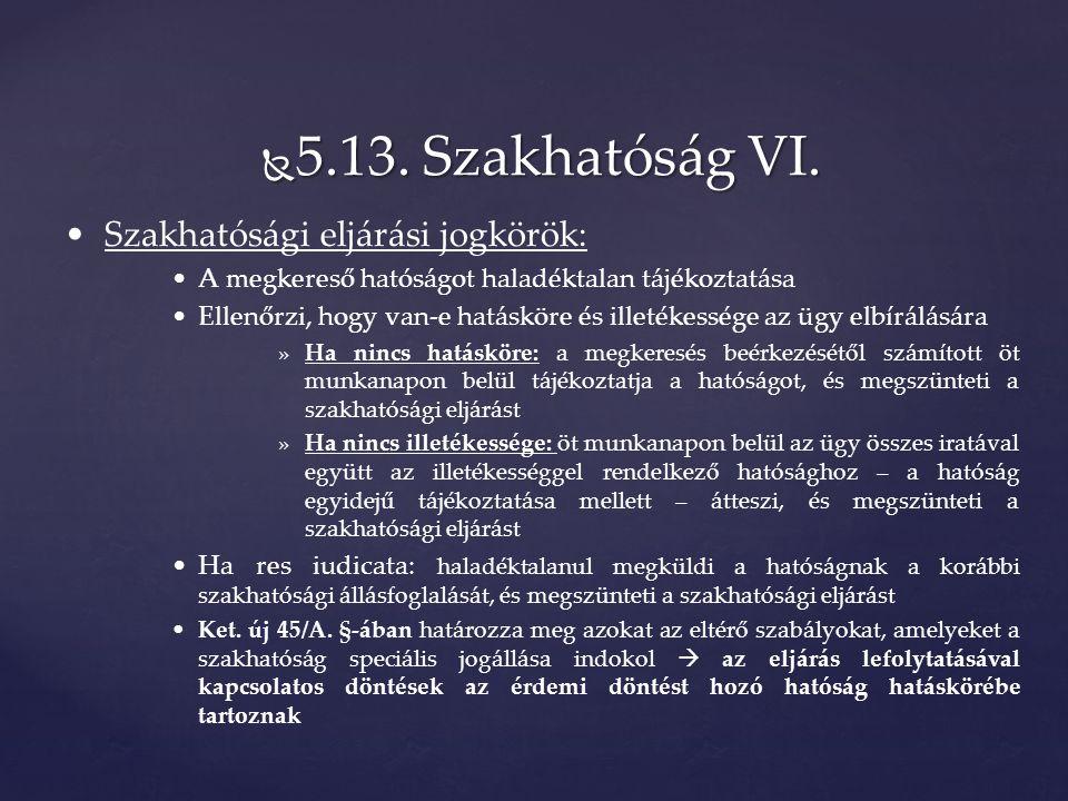  5.13. Szakhatóság VI.