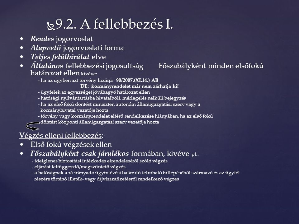  9.2. A fellebbezés I.