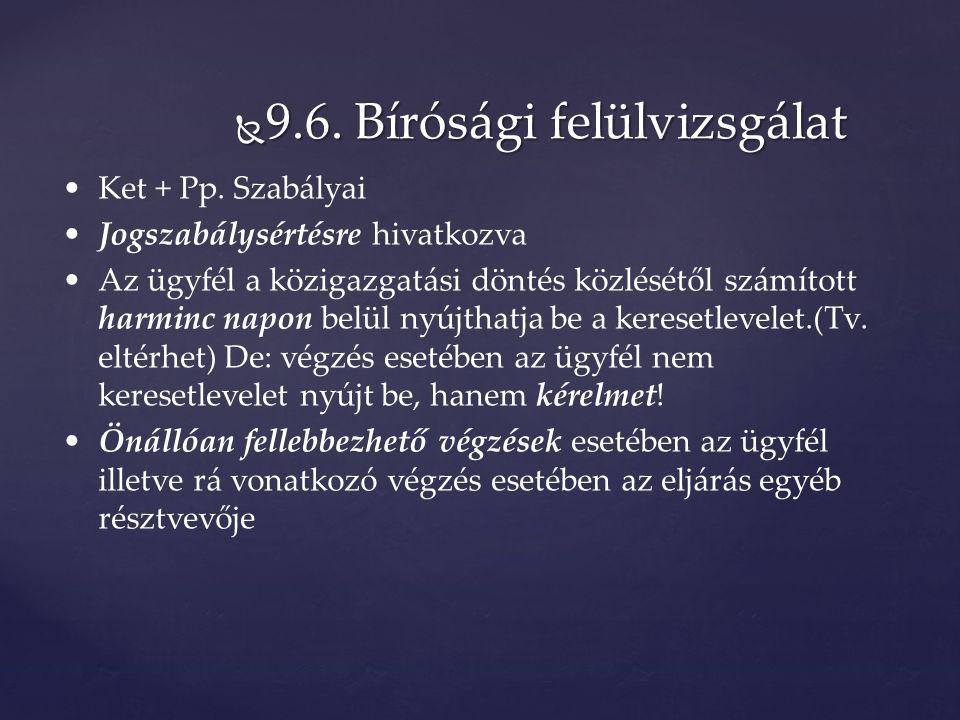  9.6. Bírósági felülvizsgálat Ket + Pp.