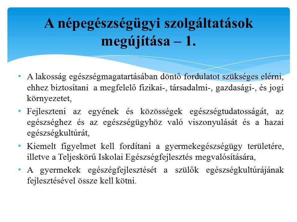 A népegészségügyi szolgáltatások megújítása – 1.