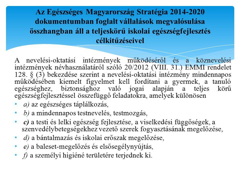 Az Egészséges Magyarország Stratégia 2014-2020 dokumentumban foglalt vállalások megvalósulása összhangban áll a teljeskörű iskolai egészségfejlesztés célkitűzéseivel A nevelési-oktatási intézmények működéséről és a köznevelési intézmények névhasználatáról szóló 20/2012 (VIII.