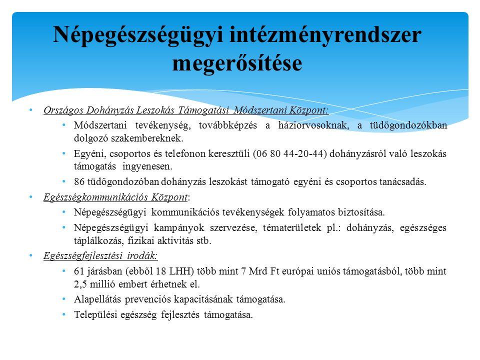 Népegészségügyi intézményrendszer megerősítése Országos Dohányzás Leszokás Támogatási Módszertani Központ: Módszertani tevékenység, továbbképzés a háziorvosoknak, a tüdőgondozókban dolgozó szakembereknek.