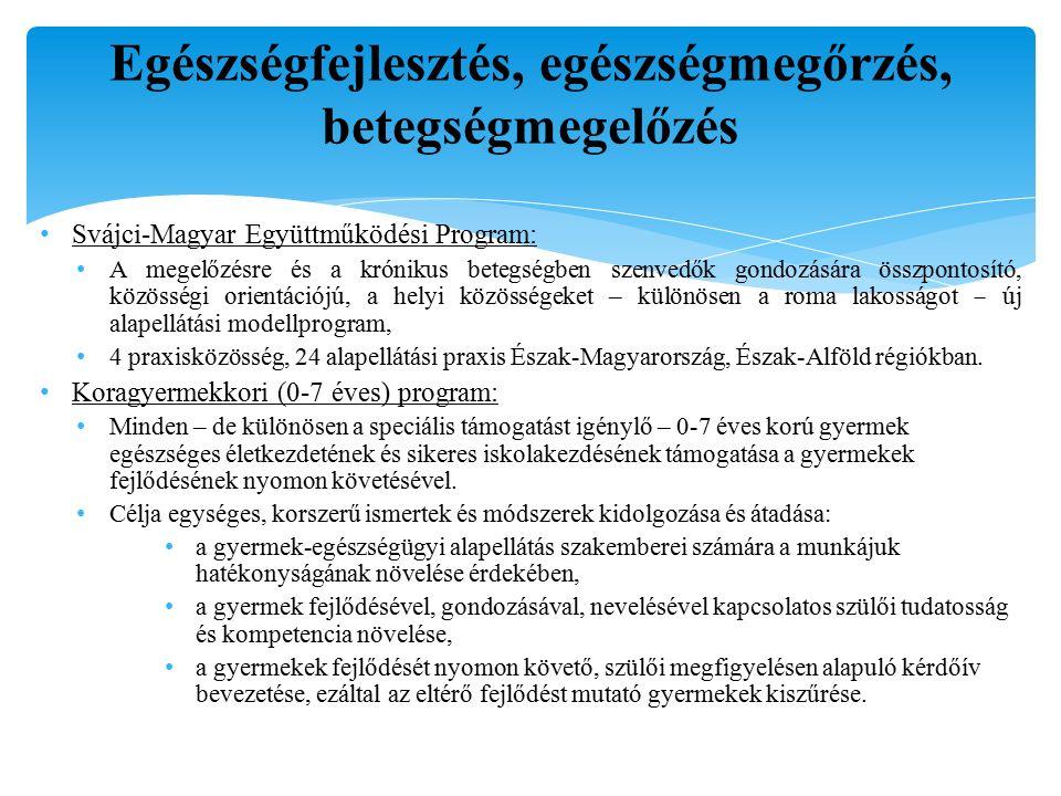 Fő népegészségügyi beavatkozási területek- IV.IV.