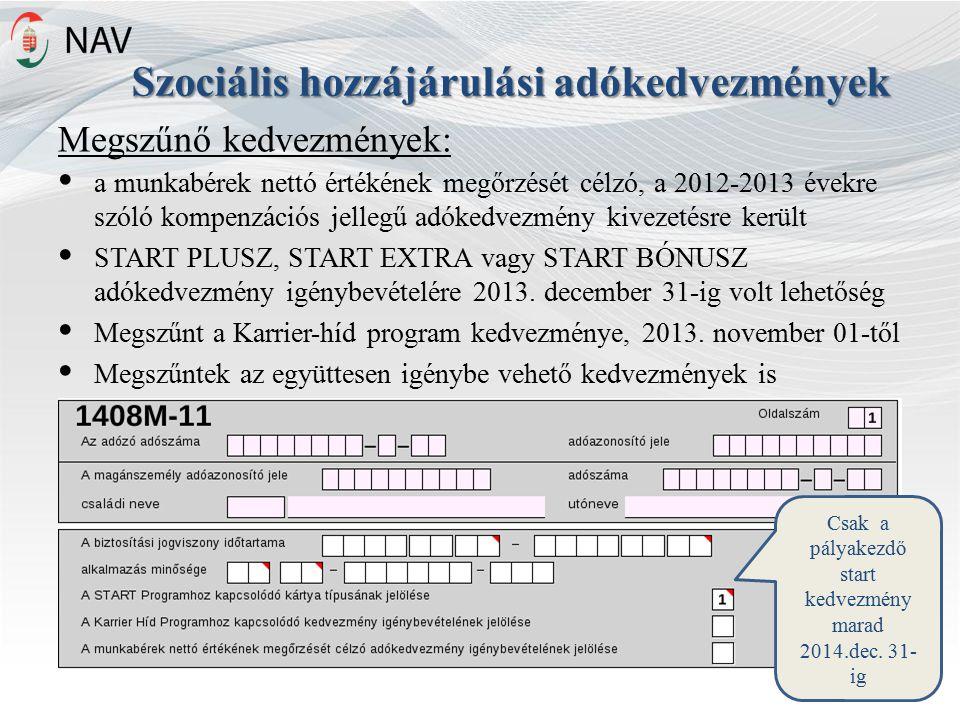 Szociális hozzájárulási adókedvezmények Megszűnő kedvezmények: a munkabérek nettó értékének megőrzését célzó, a 2012-2013 évekre szóló kompenzációs jellegű adókedvezmény kivezetésre került START PLUSZ, START EXTRA vagy START BÓNUSZ adókedvezmény igénybevételére 2013.