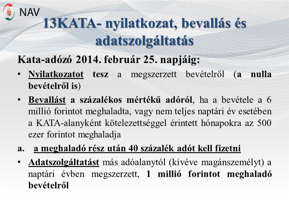 13KATA- nyilatkozat, bevallás és adatszolgáltatás Kata-adózó 2014.