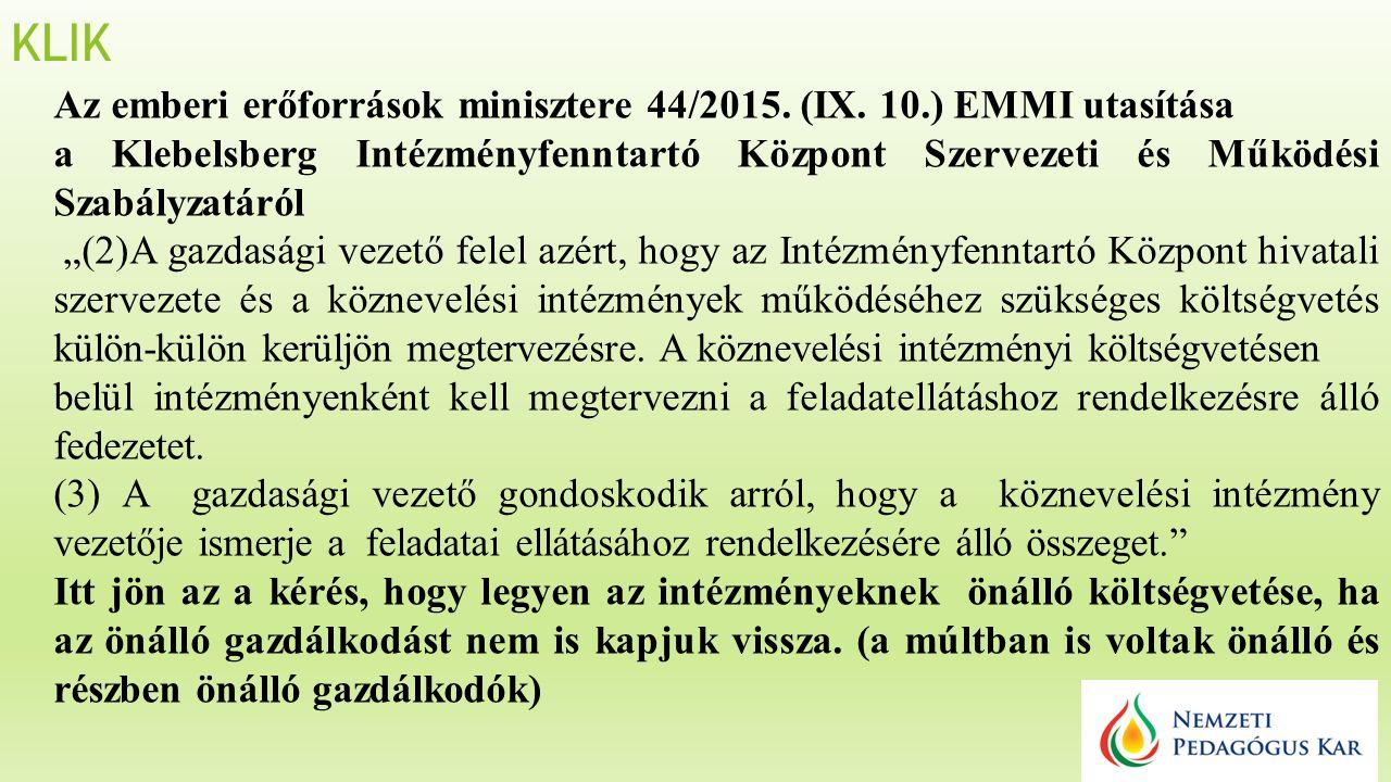 KLIK Az emberi erőforrások minisztere 44/2015. (IX.