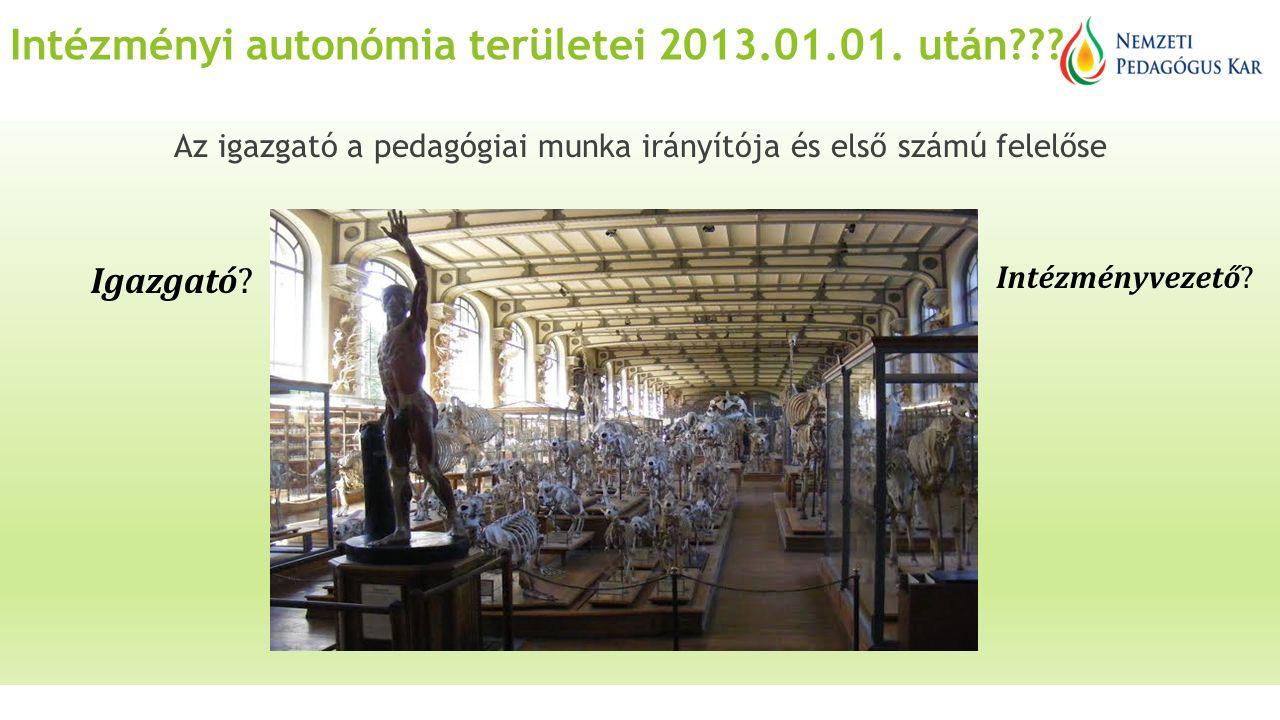 Intézményi autonómia területei 2013.01.01. után .