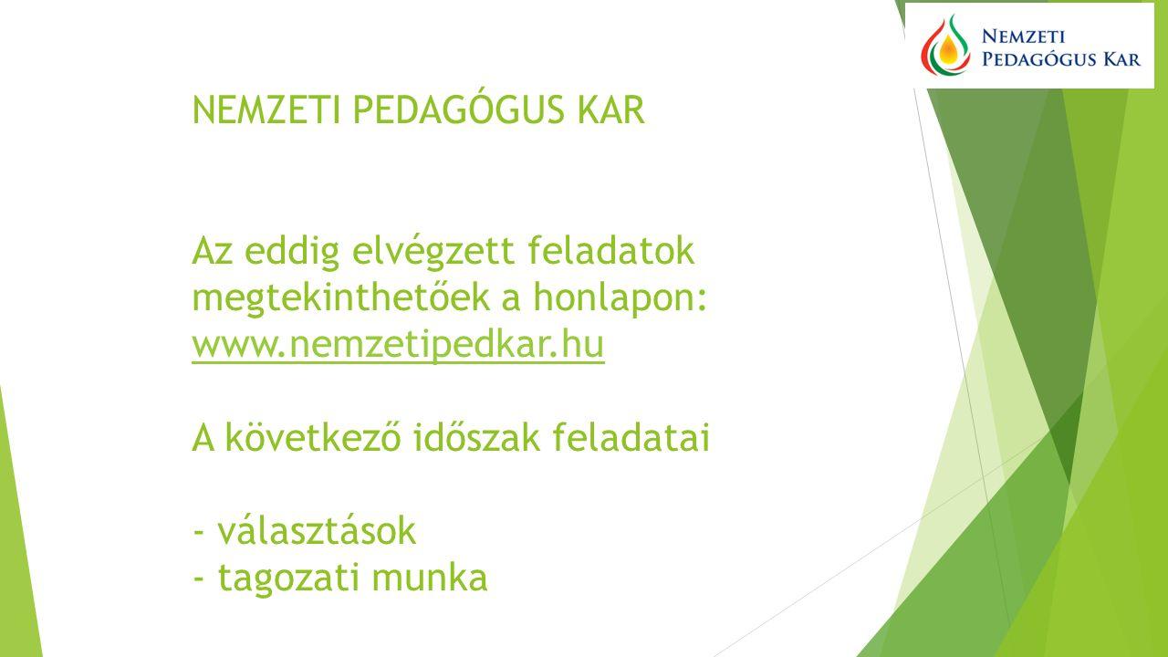 NEMZETI PEDAGÓGUS KAR Az eddig elvégzett feladatok megtekinthetőek a honlapon: www.nemzetipedkar.hu A következő időszak feladatai - választások - tagozati munka www.nemzetipedkar.hu