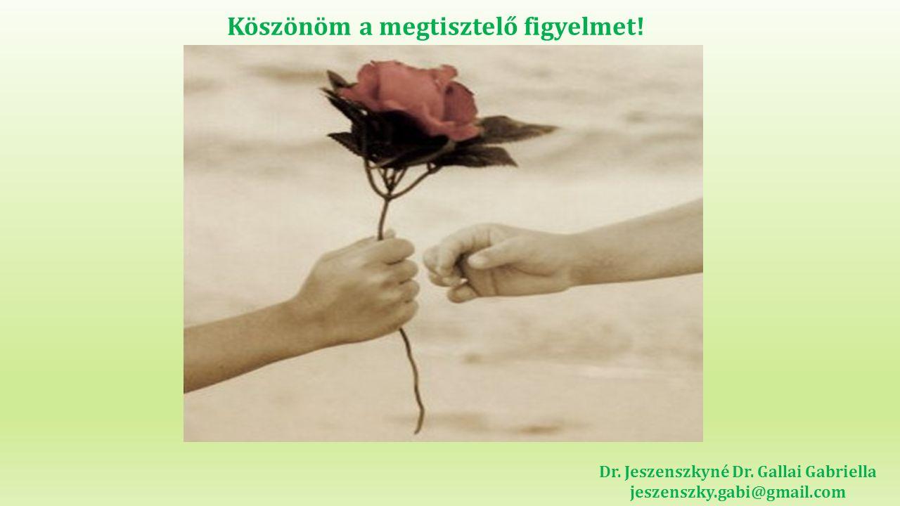 Köszönöm a megtisztelő figyelmet! Dr. Jeszenszkyné Dr. Gallai Gabriella jeszenszky.gabi@gmail.com