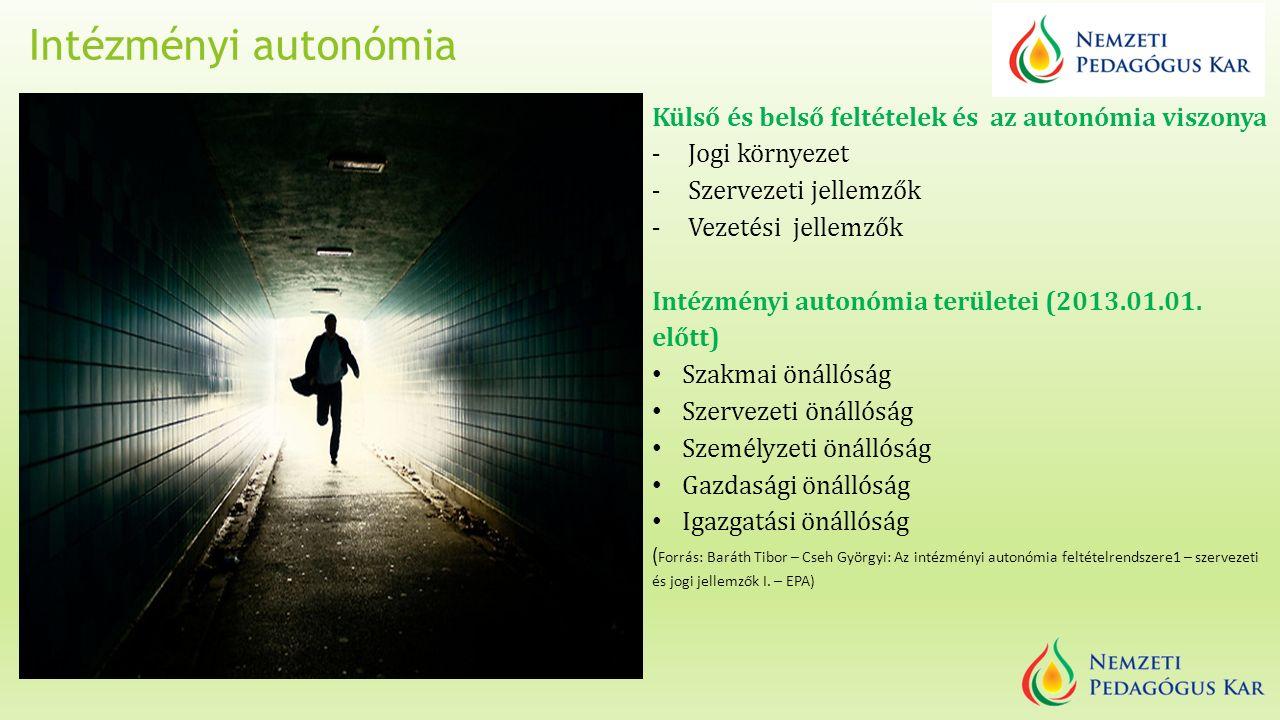Intézményi autonómia Külső és belső feltételek és az autonómia viszonya - Jogi környezet - Szervezeti jellemzők - Vezetési jellemzők Intézményi autonómia területei (2013.01.01.