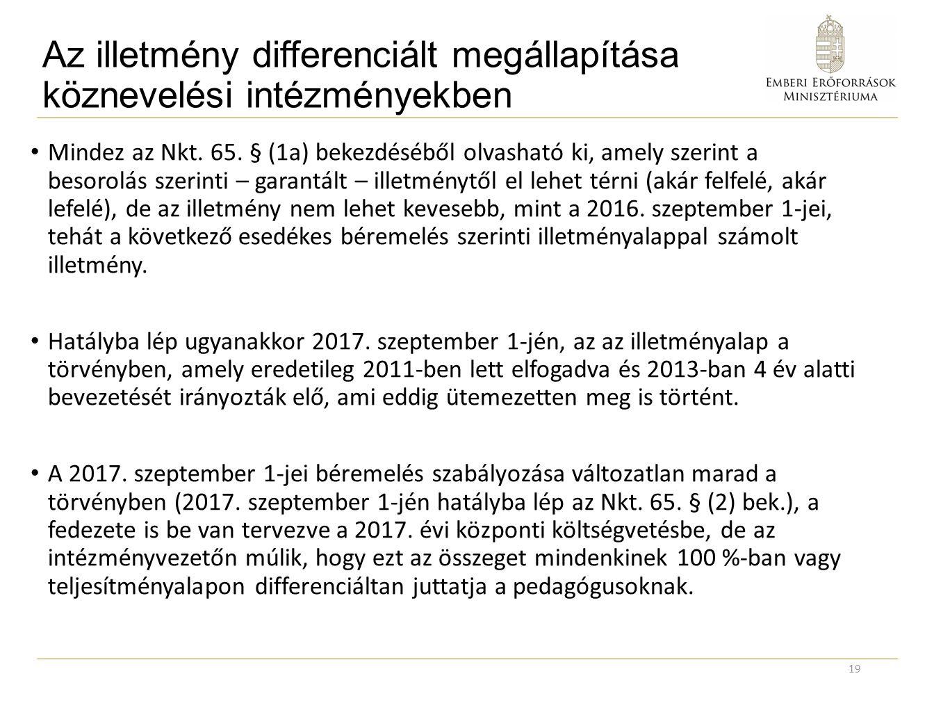 Az illetmény differenciált megállapítása köznevelési intézményekben Mindez az Nkt. 65. § (1a) bekezdéséből olvasható ki, amely szerint a besorolás sze