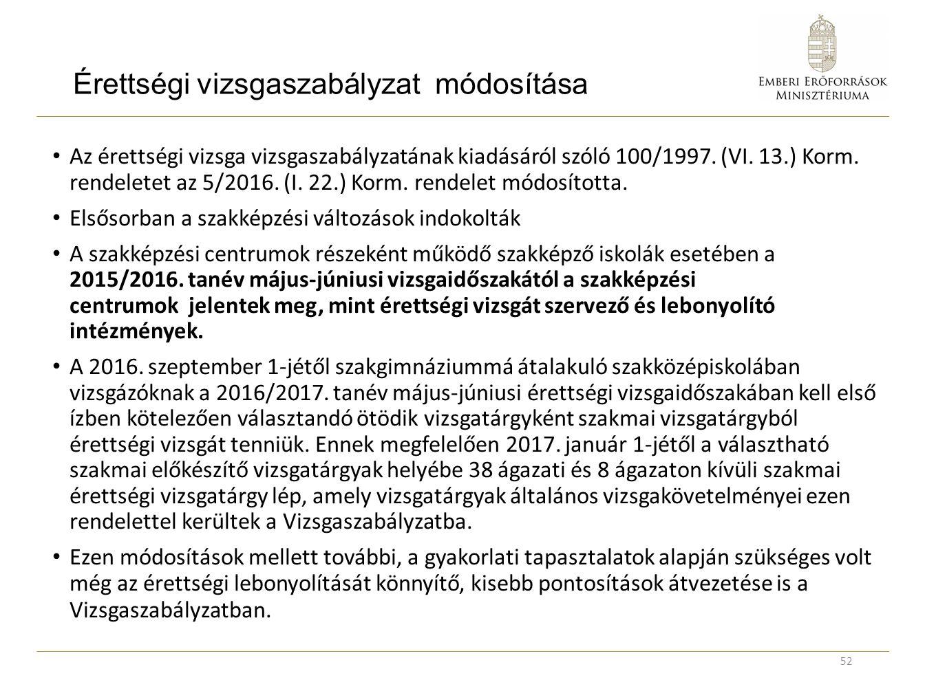 Érettségi vizsgaszabályzat módosítása Az érettségi vizsga vizsgaszabályzatának kiadásáról szóló 100/1997. (VI. 13.) Korm. rendeletet az 5/2016. (I. 22