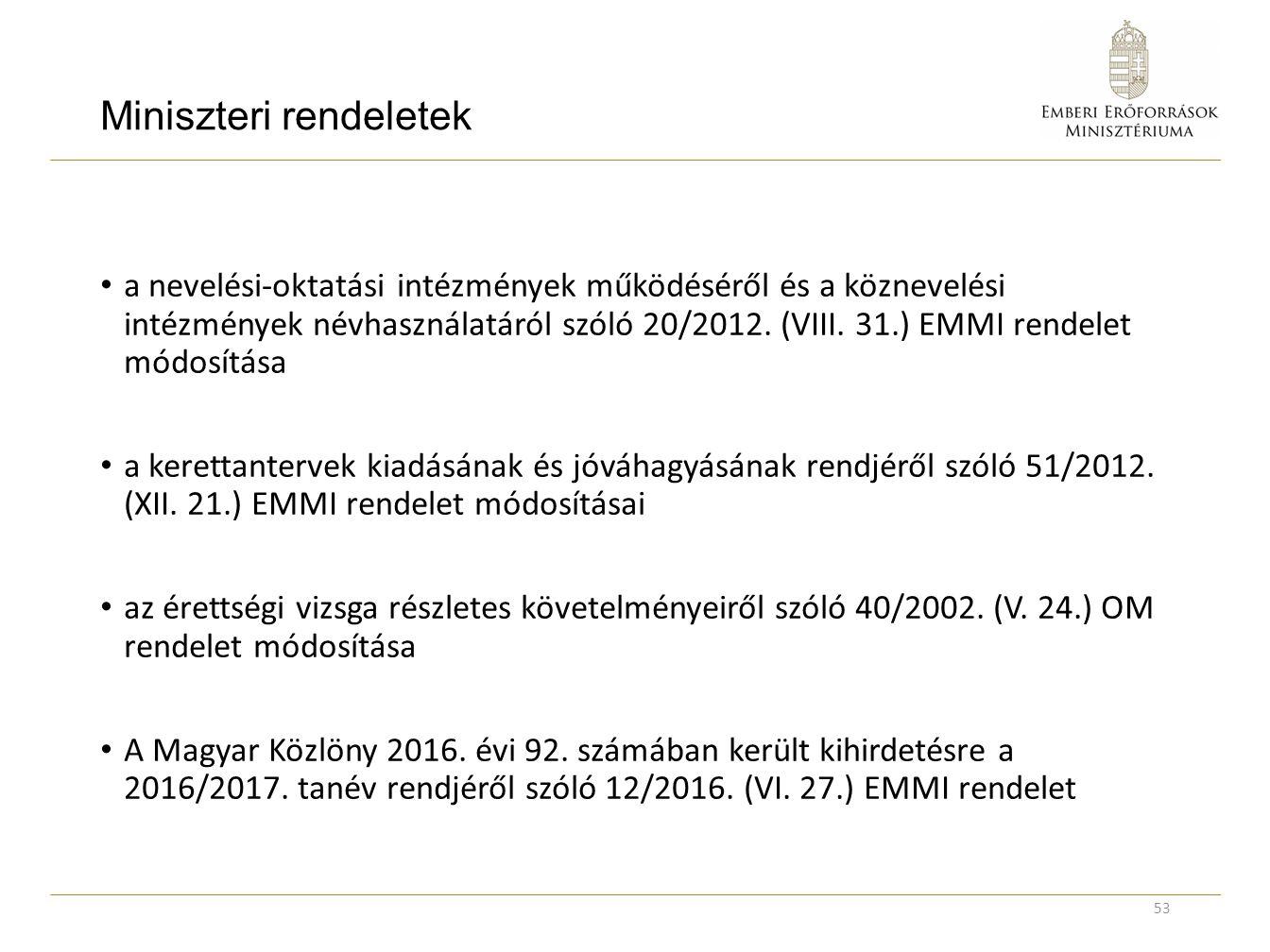Miniszteri rendeletek a nevelési-oktatási intézmények működéséről és a köznevelési intézmények névhasználatáról szóló 20/2012. (VIII. 31.) EMMI rendel