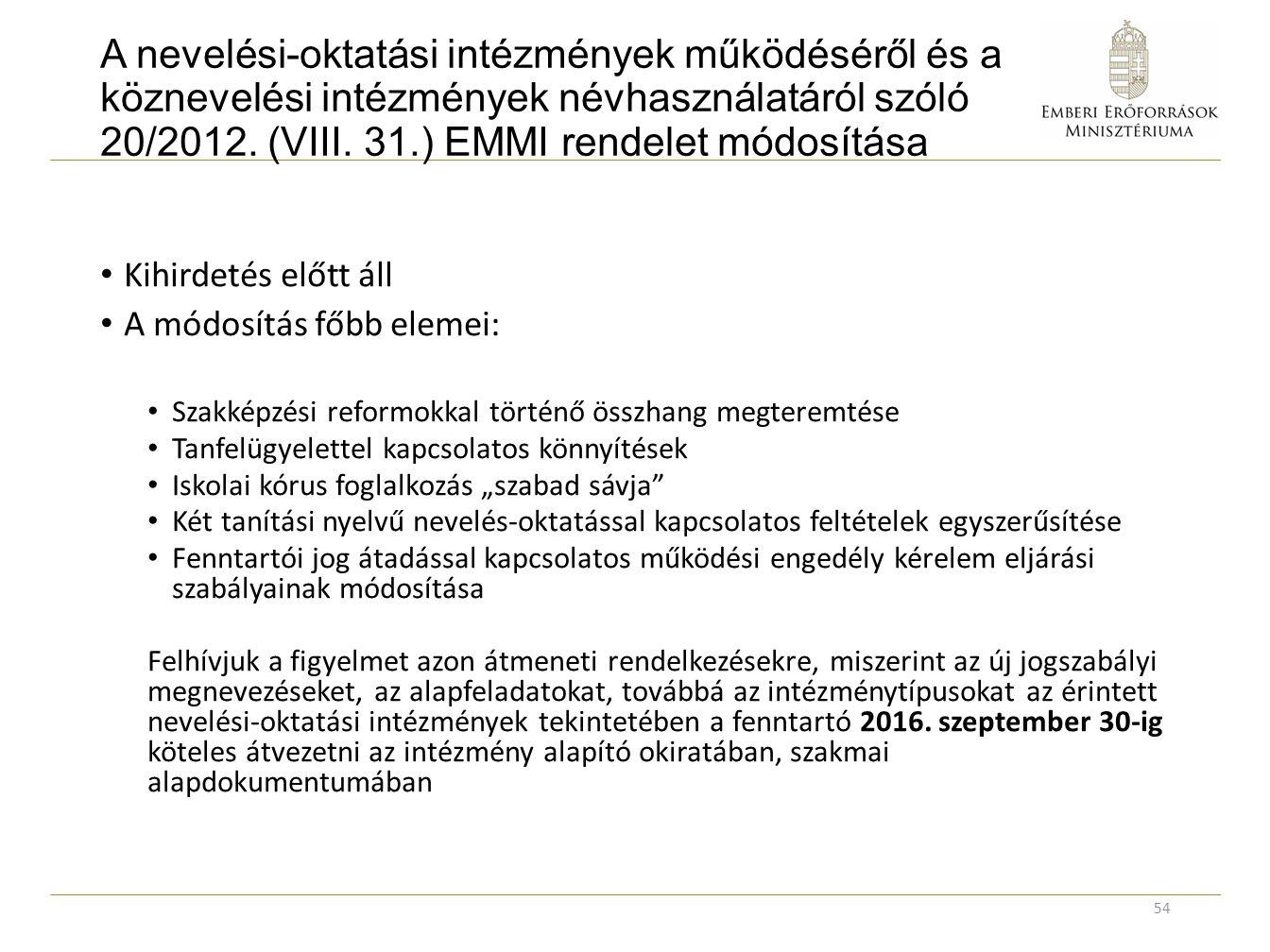 A nevelési-oktatási intézmények működéséről és a köznevelési intézmények névhasználatáról szóló 20/2012. (VIII. 31.) EMMI rendelet módosítása Kihirdet