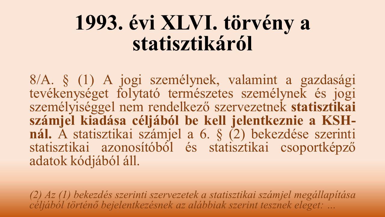 1993. évi XLVI. törvény a statisztikáról 8/A. § (1) A jogi személynek, valamint a gazdasági tevékenységet folytató természetes személynek és jogi szem