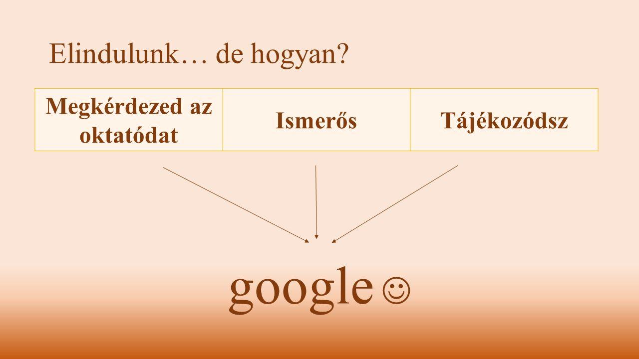 Elindulunk… de hogyan? google Megkérdezed az oktatódat IsmerősTájékozódsz