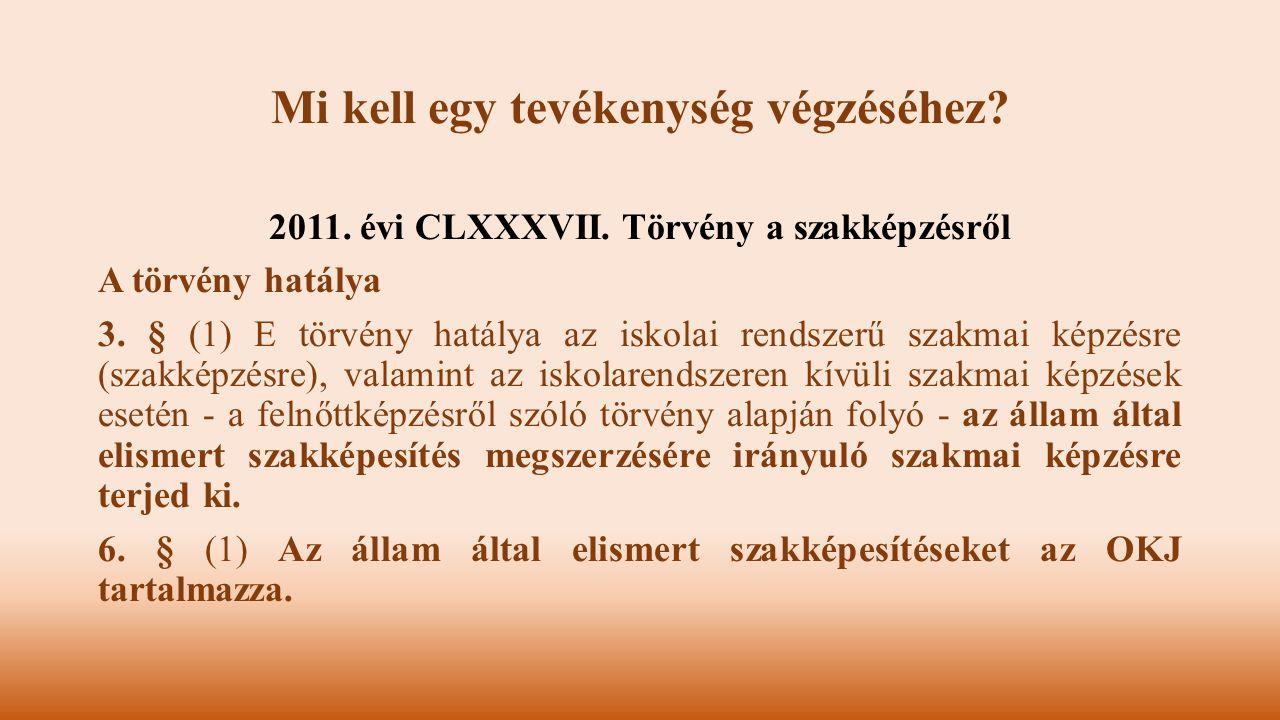 2011. évi CLXXXVII. Törvény a szakképzésről A törvény hatálya 3. § (1) E törvény hatálya az iskolai rendszerű szakmai képzésre (szakképzésre), valamin