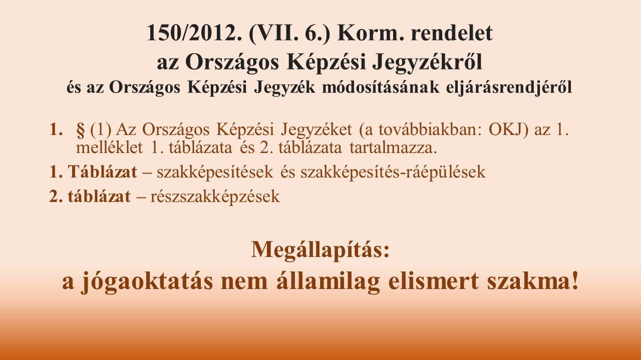 1.§ (1) Az Országos Képzési Jegyzéket (a továbbiakban: OKJ) az 1. melléklet 1. táblázata és 2. táblázata tartalmazza. 1. Táblázat – szakképesítések és