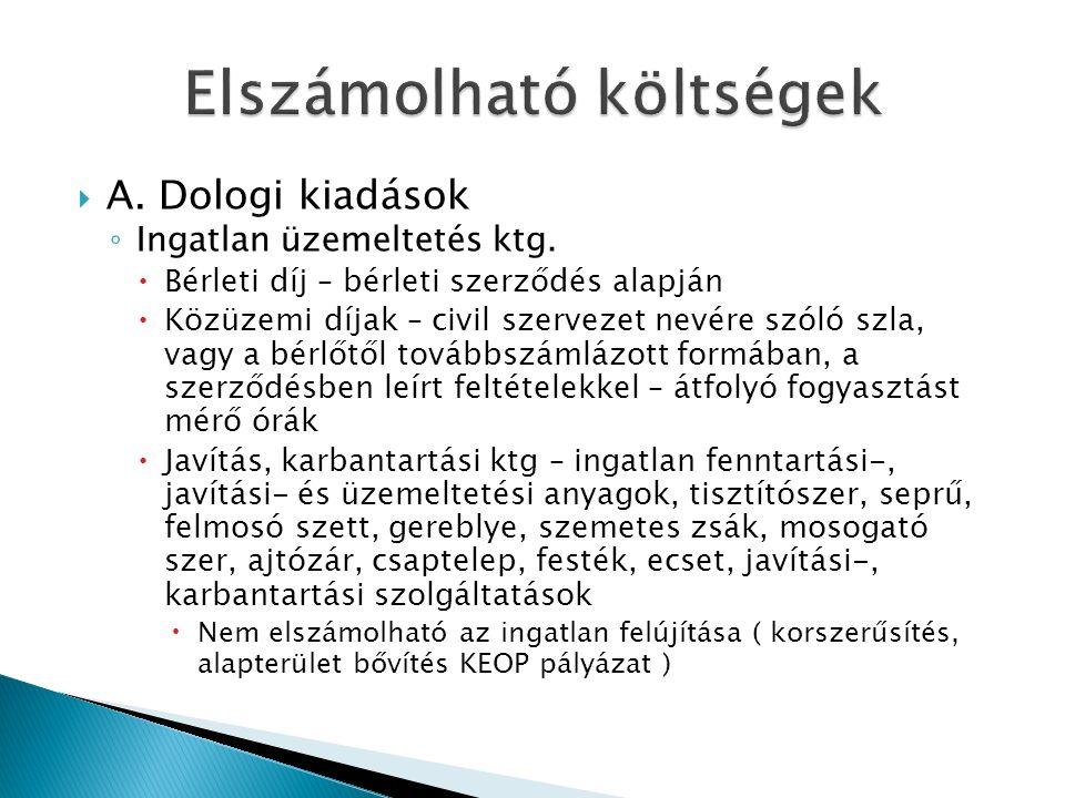  A. Dologi kiadások ◦ Ingatlan üzemeltetés ktg.