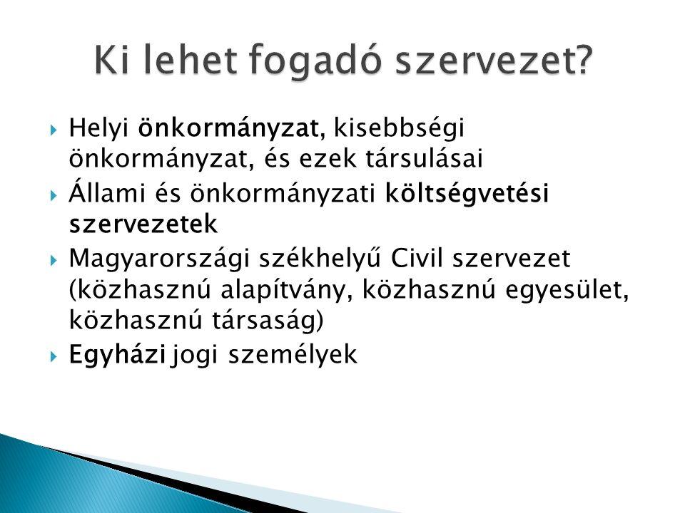  Helyi önkormányzat, kisebbségi önkormányzat, és ezek társulásai  Állami és önkormányzati költségvetési szervezetek  Magyarországi székhelyű Civil szervezet (közhasznú alapítvány, közhasznú egyesület, közhasznú társaság)  Egyházi jogi személyek