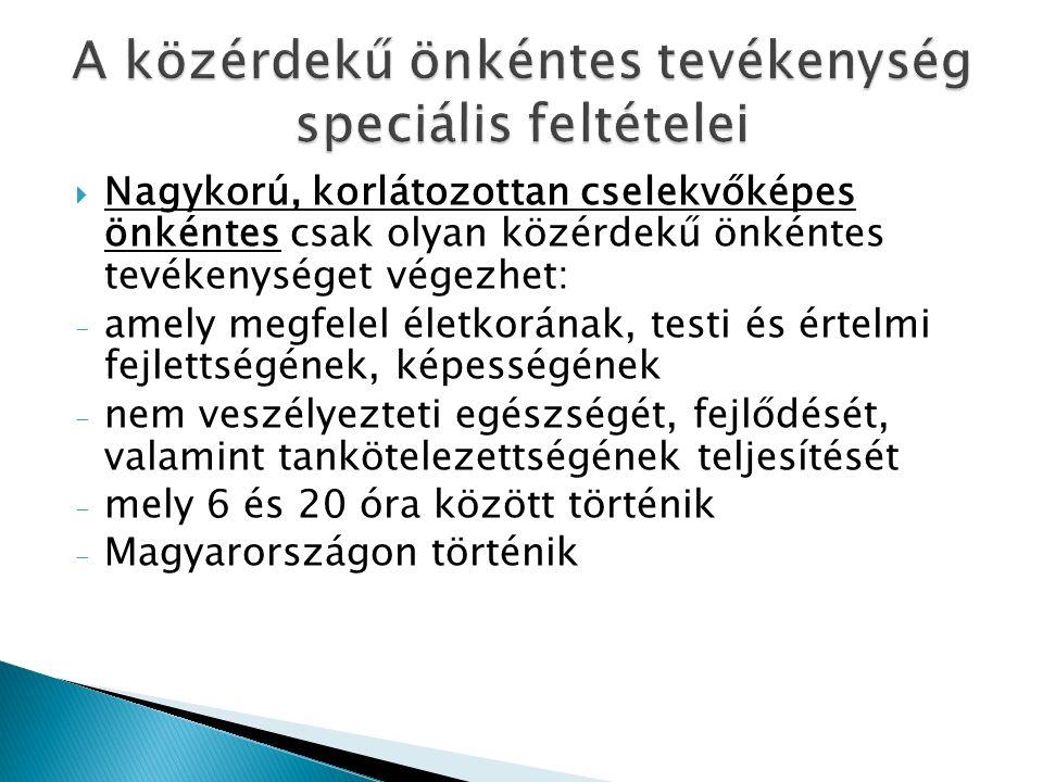  Nagykorú, korlátozottan cselekvőképes önkéntes csak olyan közérdekű önkéntes tevékenységet végezhet: - amely megfelel életkorának, testi és értelmi fejlettségének, képességének - nem veszélyezteti egészségét, fejlődését, valamint tankötelezettségének teljesítését - mely 6 és 20 óra között történik - Magyarországon történik