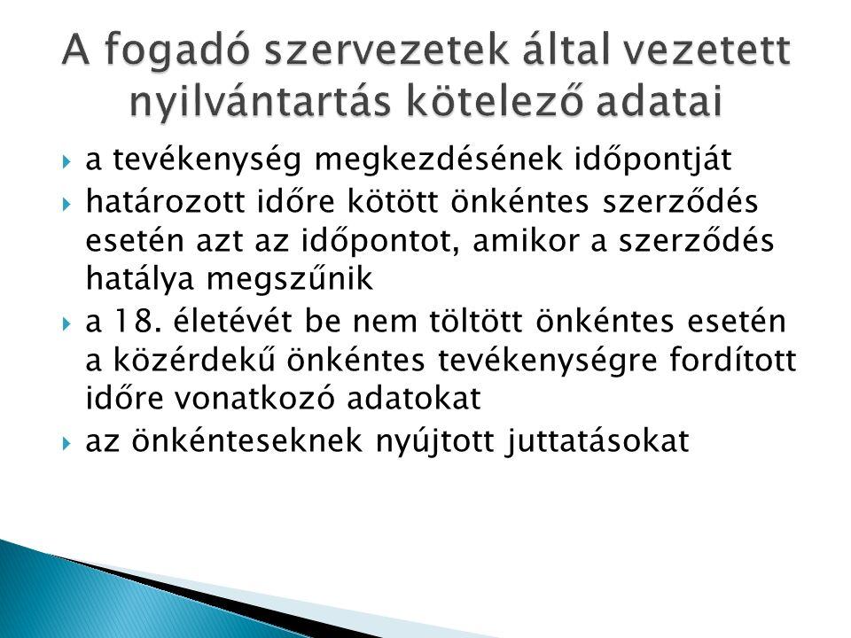  a tevékenység megkezdésének időpontját  határozott időre kötött önkéntes szerződés esetén azt az időpontot, amikor a szerződés hatálya megszűnik  a 18.