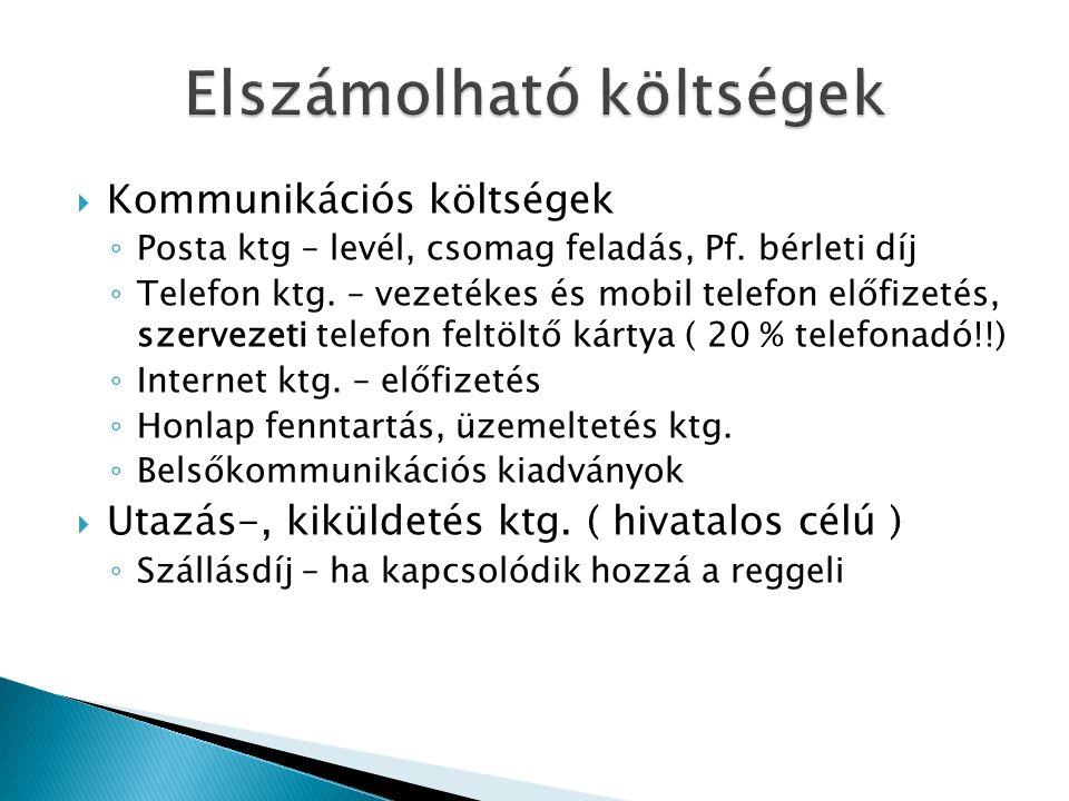  Kommunikációs költségek ◦ Posta ktg – levél, csomag feladás, Pf.