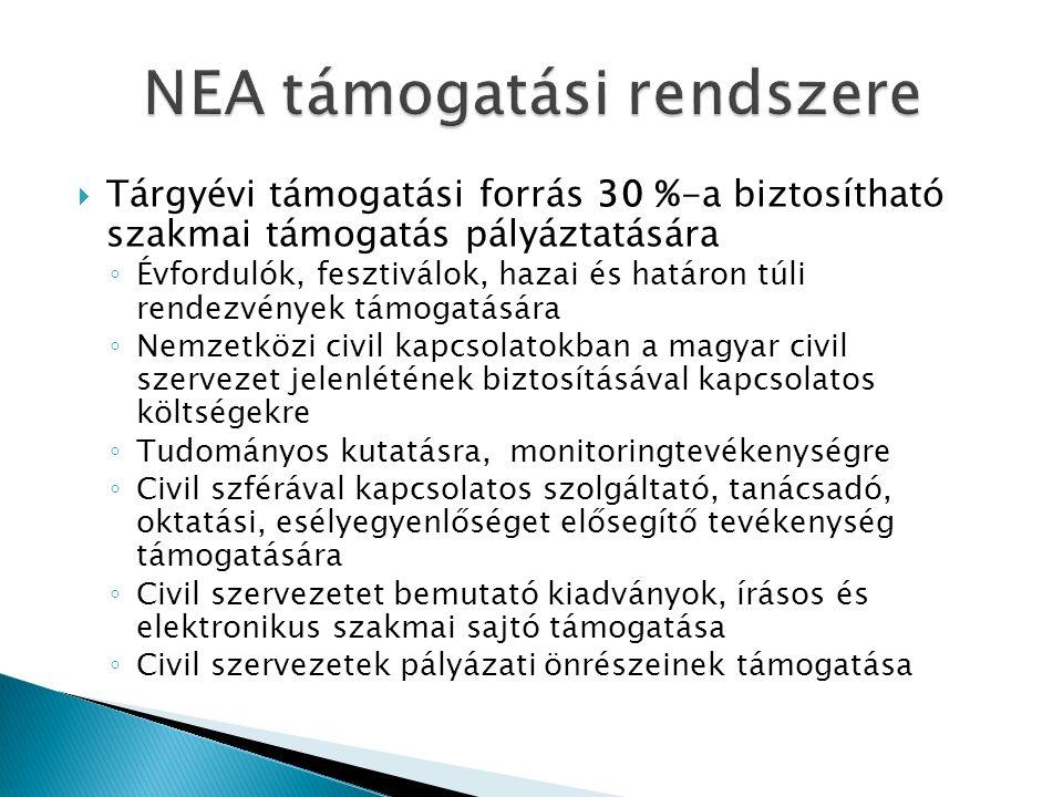  Tárgyévi támogatási forrás 30 %-a biztosítható szakmai támogatás pályáztatására ◦ Évfordulók, fesztiválok, hazai és határon túli rendezvények támogatására ◦ Nemzetközi civil kapcsolatokban a magyar civil szervezet jelenlétének biztosításával kapcsolatos költségekre ◦ Tudományos kutatásra, monitoringtevékenységre ◦ Civil szférával kapcsolatos szolgáltató, tanácsadó, oktatási, esélyegyenlőséget elősegítő tevékenység támogatására ◦ Civil szervezetet bemutató kiadványok, írásos és elektronikus szakmai sajtó támogatása ◦ Civil szervezetek pályázati önrészeinek támogatása