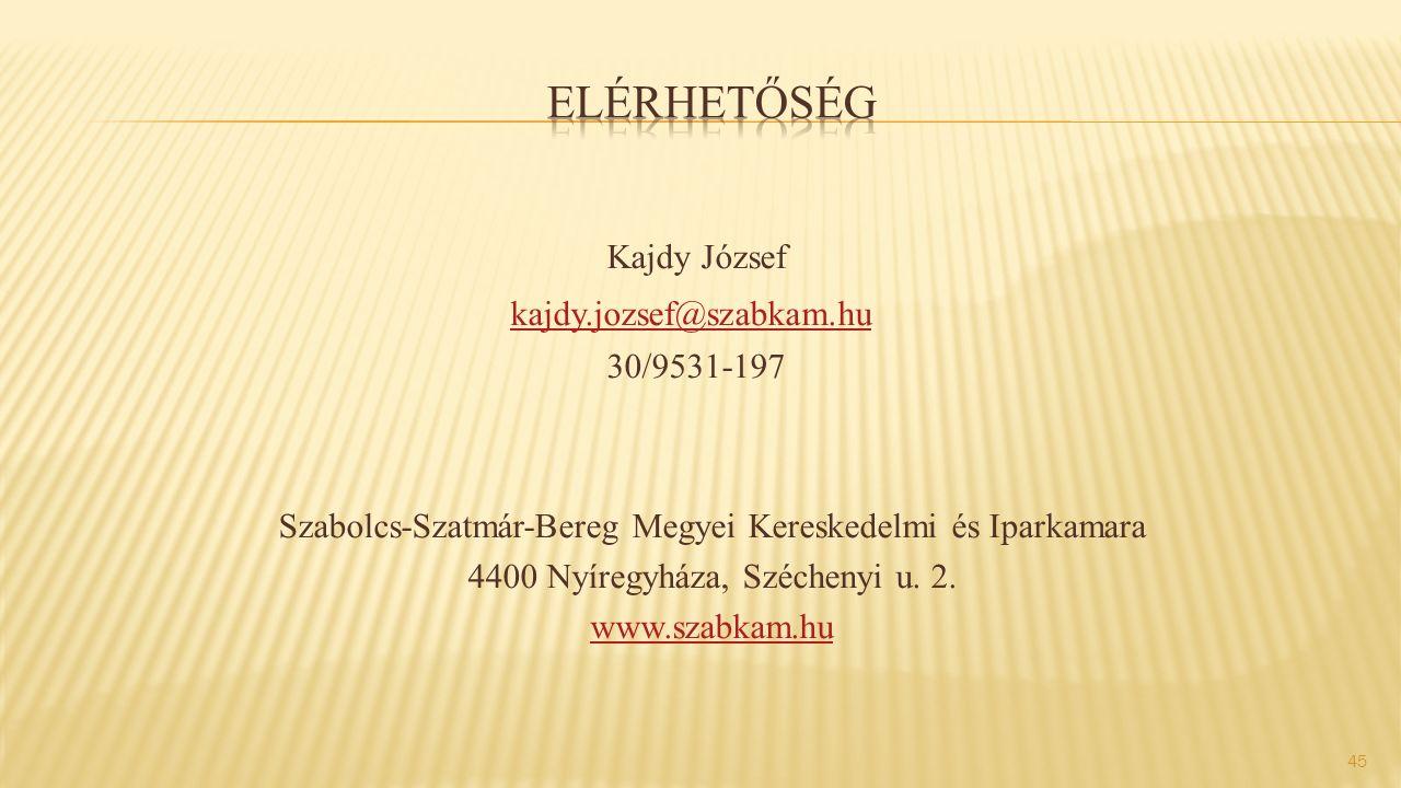 Kajdy József kajdy.jozsef@szabkam.hu 30/9531-197 Szabolcs-Szatmár-Bereg Megyei Kereskedelmi és Iparkamara 4400 Nyíregyháza, Széchenyi u.