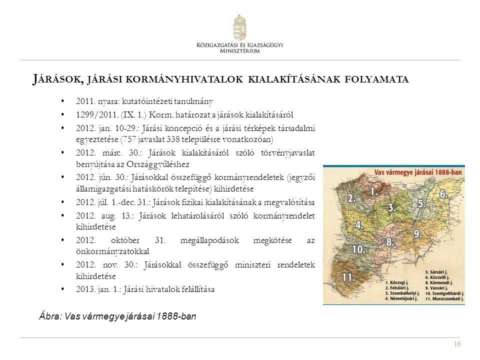 16 J ÁRÁSOK, JÁRÁSI KORMÁNYHIVATALOK KIALAKÍTÁSÁNAK FOLYAMATA 2011. nyara: kutatóintézeti tanulmány 1299/2011. (IX. 1.) Korm. határozat a járások kial