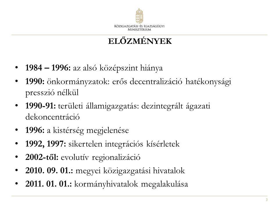 3 ELŐZMÉNYEK 1984 – 1996: az alsó középszint hiánya 1990: önkormányzatok: erős decentralizáció hatékonysági presszió nélkül 1990-91: területi államiga