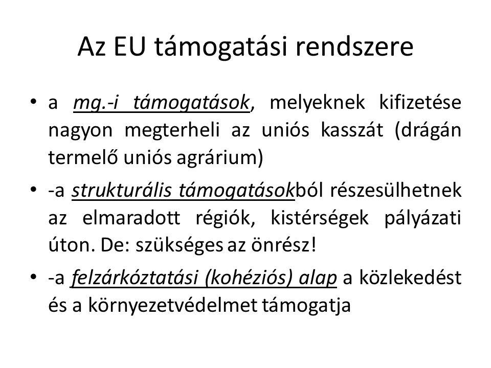 Az EU támogatási rendszere a mg.-i támogatások, melyeknek kifizetése nagyon megterheli az uniós kasszát (drágán termelő uniós agrárium) -a strukturális támogatásokból részesülhetnek az elmaradott régiók, kistérségek pályázati úton.
