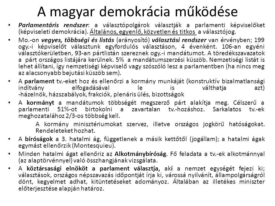 A magyar demokrácia működése Parlamentáris rendszer: a választópolgárok választják a parlamenti képviselőket (képviseleti demokrácia). Általános, egye