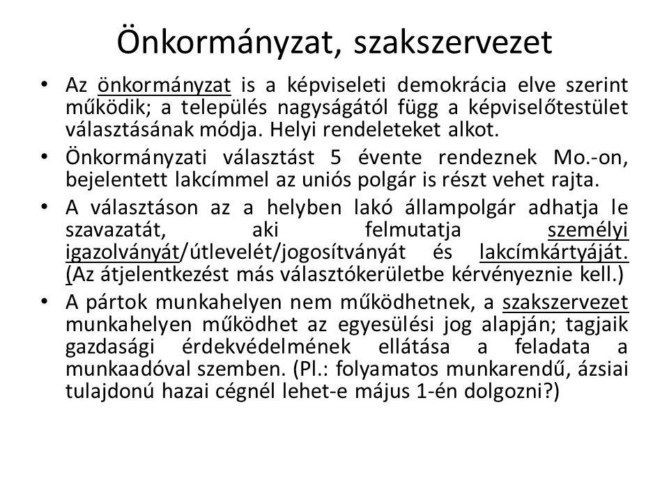 Önkormányzat, szakszervezet Az önkormányzat is a képviseleti demokrácia elve szerint működik; a település nagyságától függ a képviselőtestület választ