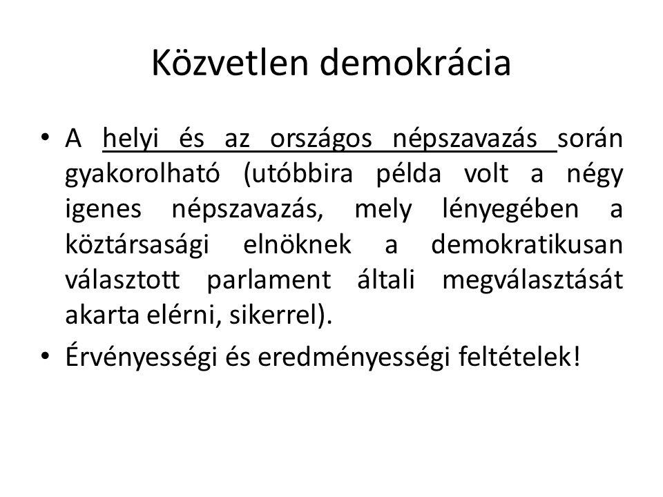 Közvetlen demokrácia A helyi és az országos népszavazás során gyakorolható (utóbbira példa volt a négy igenes népszavazás, mely lényegében a köztársasági elnöknek a demokratikusan választott parlament általi megválasztását akarta elérni, sikerrel).