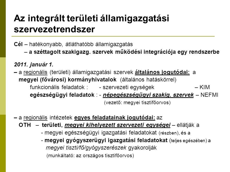 Az integrált területi államigazgatási szervezetrendszer Cél – hatékonyabb, átláthatóbb államigazgatás – a széttagolt szakigazg.