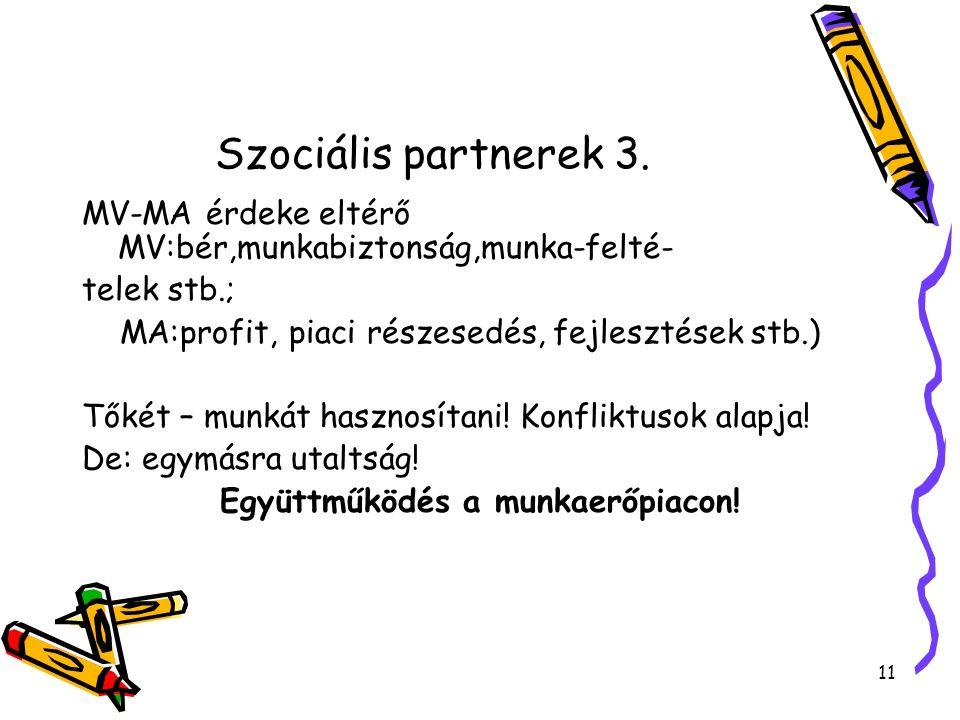 Szociális partnerek 3. MV-MA érdeke eltérő MV:bér,munkabiztonság,munka-felté- telek stb.; MA:profit, piaci részesedés, fejlesztések stb.) Tőkét – munk