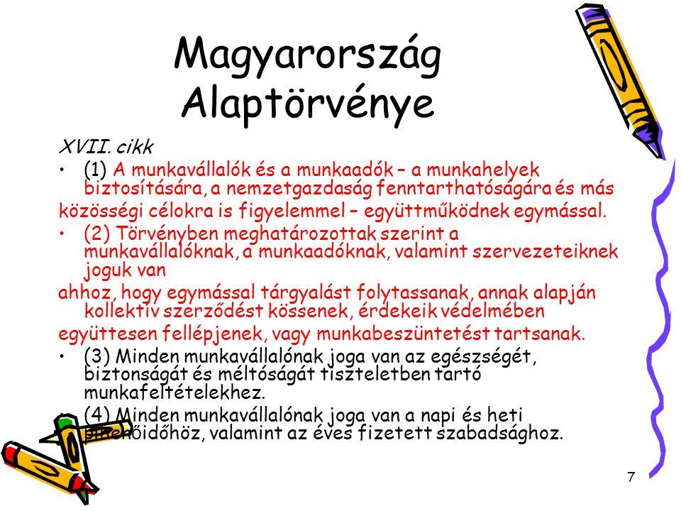 Magyarország Alaptörvénye XVII. cikk (1) A munkavállalók és a munkaadók – a munkahelyek biztosítására, a nemzetgazdaság fenntarthatóságára és más közö