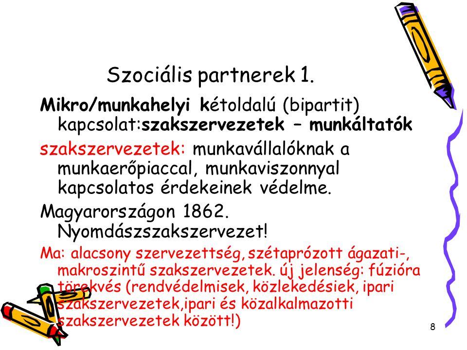 Szociális partnerek 1. Mikro/munkahelyi kétoldalú (bipartit) kapcsolat:szakszervezetek – munkáltatók szakszervezetek: munkavállalóknak a munkaerőpiacc