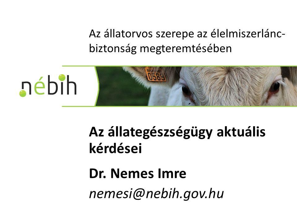 Az állatorvos szerepe az élelmiszerlánc- biztonság megteremtésében Az állategészségügy aktuális kérdései Dr.