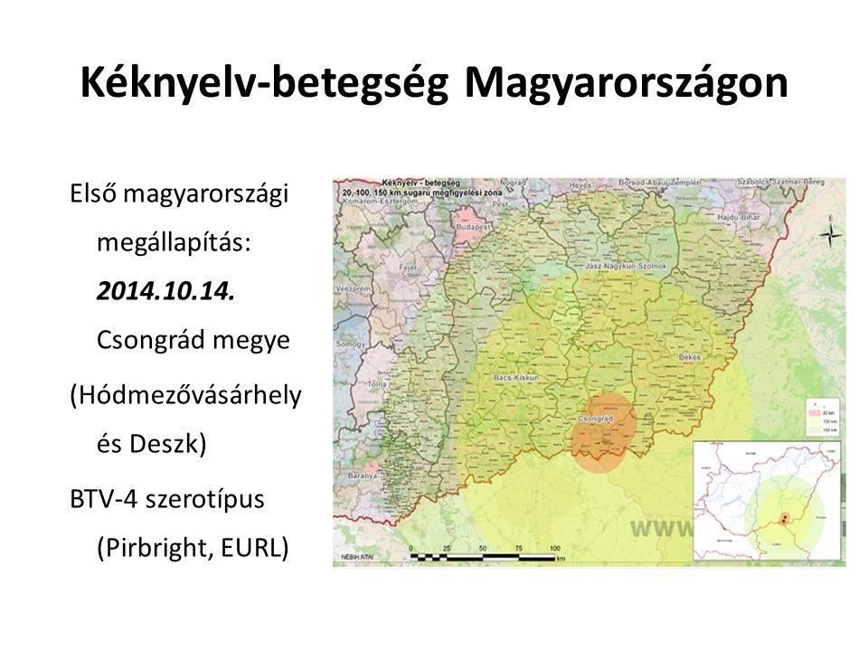 Kéknyelv-betegség Magyarországon Első magyarországi megállapítás: 2014.10.14.